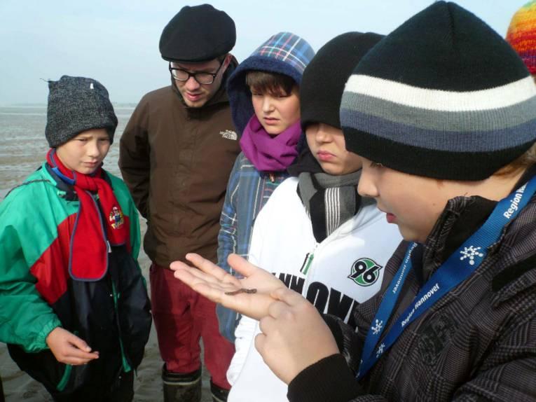 Kinder stehen im Watt und betrachten eine Wattwurm der sich in einer Hand befindet.