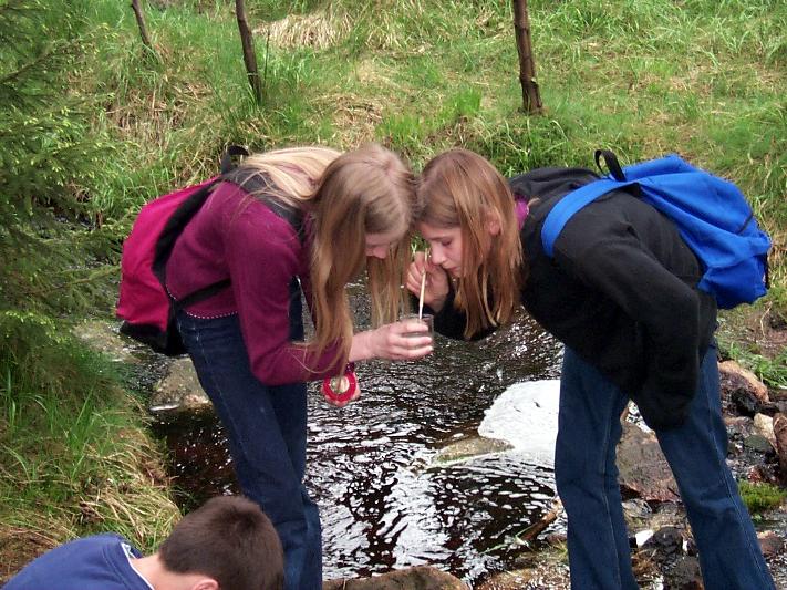 Schülerinnen bei einer Wasserprobe im Wald.